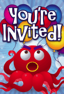 Big Red Octopus Invitation