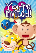Bird Tiger Monkey Invitation