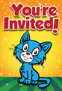 Blue Kitten Invitation