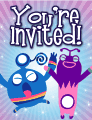 Blue and Purple Aliens Small Invitation