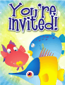 Colorful Fish Small Invitation