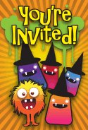 Halloween Fuzzy Monster Invitation