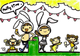 Adult Party Invitation with Drinks and Bunny Costumes