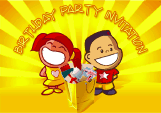 Birthday Party Invitation with Boy and Girl Grinning