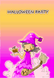 Halloween Party Invitation with Purple Witch (small)