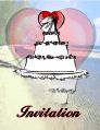 Wedding Invitation Wedding Cake on Beach (small)
