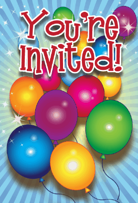 Birthday Balloons Invitation