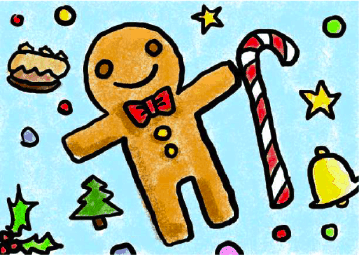 Christmas Party Invitation with Gingerbread Man