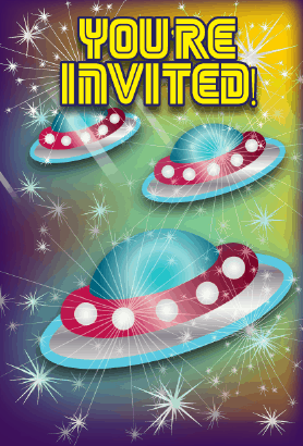 Flying Saucers Invitation
