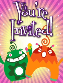 Green and Orange Aliens Small Invitation
