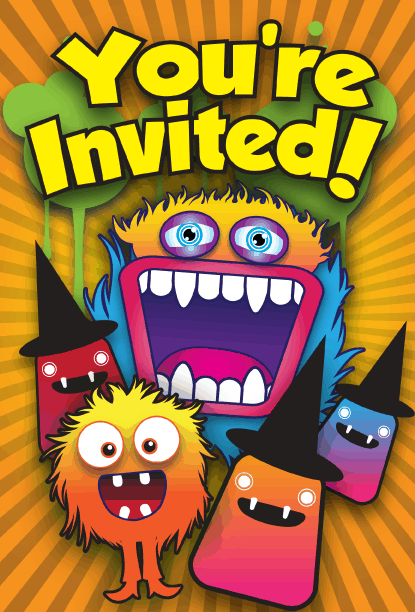 Happy Monster Halloween Party Invitation