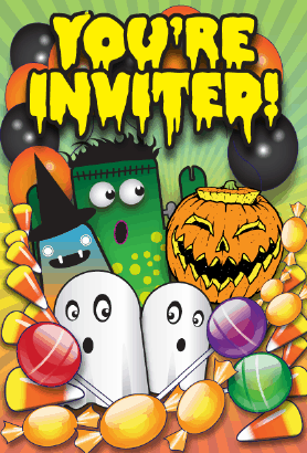 Halloween Ghosts Monsters Invitation