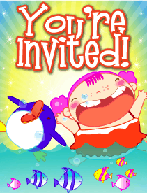 Kid with Penguin Small Invitation