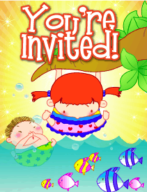 Kids and Fish Small Invitation