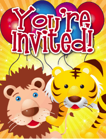Lion Tiger Small Invitation