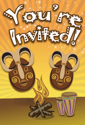 Tribal Masks Invitation