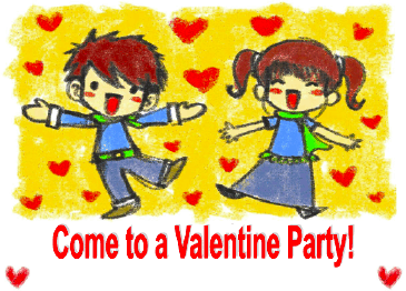 Valentine Party Invitation with Boy and Girl Dancing with Hearts