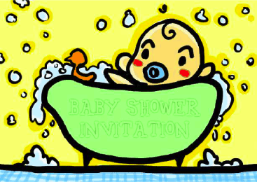 Baby Shower Invitation with Baby in Bath