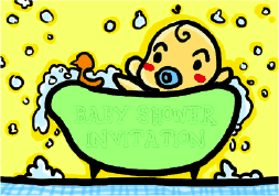 Baby Shower Invitation with Baby in Bath (small)