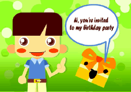 Birthday Party Invitation with Boy and Gift (small)