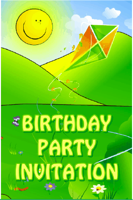 Birthday Party Invitation with Kite