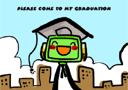 Graduation Party Invitation with Robot Wearing Mortarboard (small)