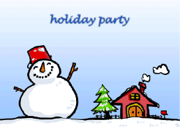 Holiday Party Invitation with Jolly Snowman (small)